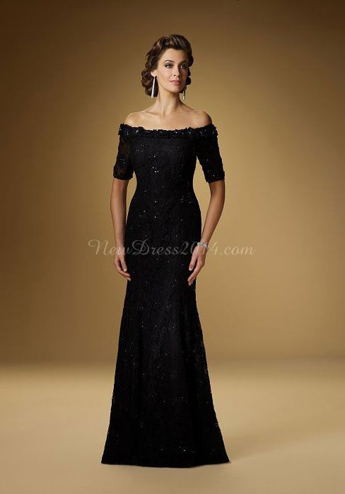 Lace A-Line Off-the-shoulder With Beading Short Sleeves Mother Of The Bride Dress