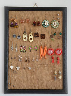 Burlap attached to frame as an earring holder. Paint it coral and it's perfect!