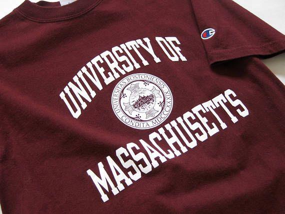 4114edb7b091b RARE VTG MISPRINT UMass Amherst with Boston University Seal T Shirt ...