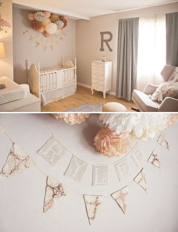 In <3 with this neutral girl nursery!  Click to see even more pretty features/decor! #woodlandcreatures