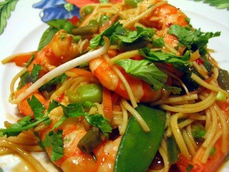 wok de crevettes et légumes, sauce piquante de la journée de la femme | le blog de Lacath