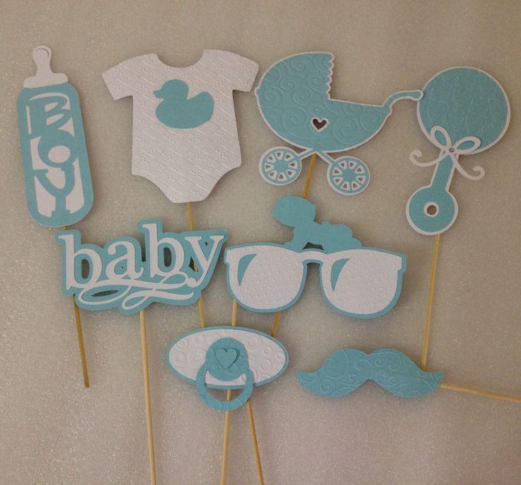 BABY PHOTOBOOTH PROPS - Set of 8 elegantly embossed baby boy photo props- baby…