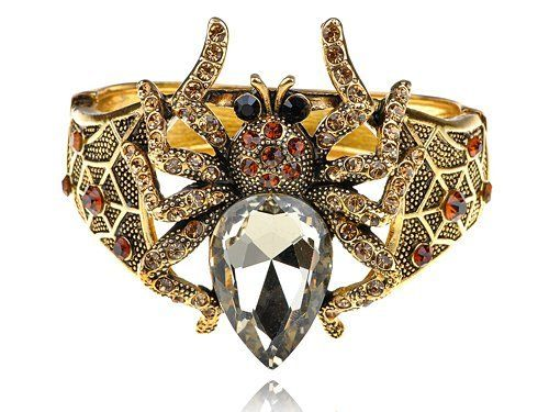 Antique Inspired Siam Topaz Crystal Rhinestone Spider Bug Bracelet Bangle Cuff Alilang. $26.99