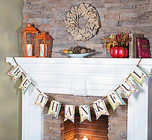 FE-OTC Fall Harvest Thanksgiving Fabric Banner Garland Pendant Thankful