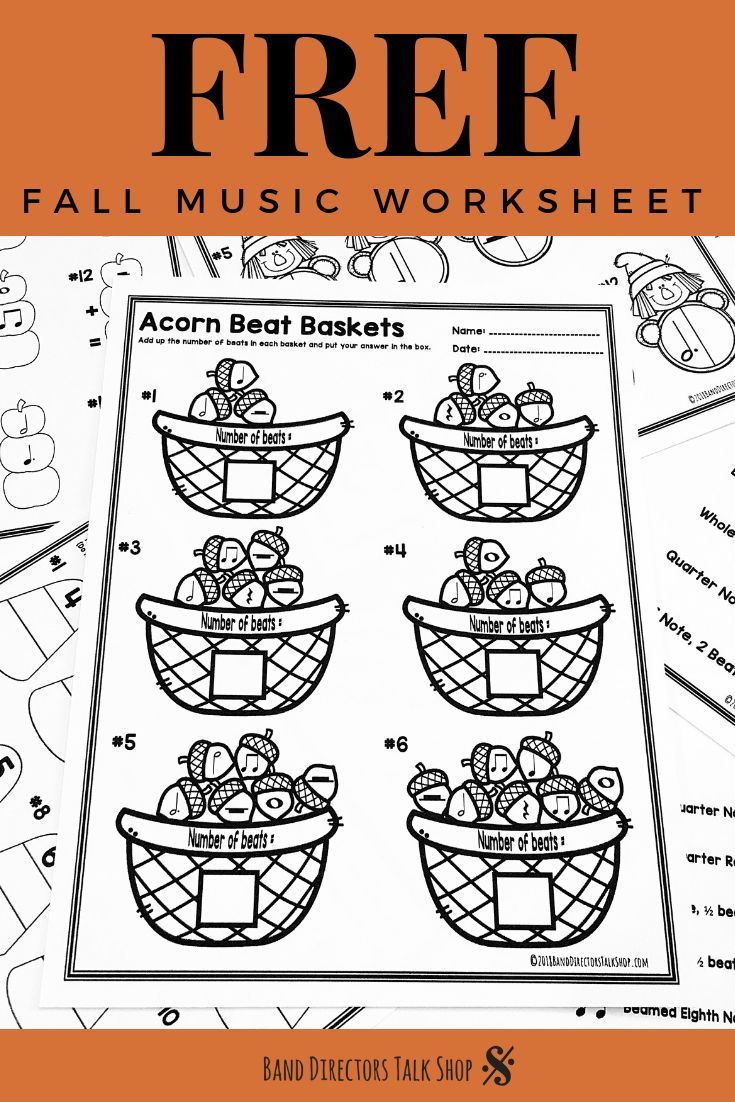 Music Teachers Click For A Free Fall Music Worksheet If Your Students Are Working On Rhythm And Music Math Fall Music Worksheets Music Worksheets Fall Music