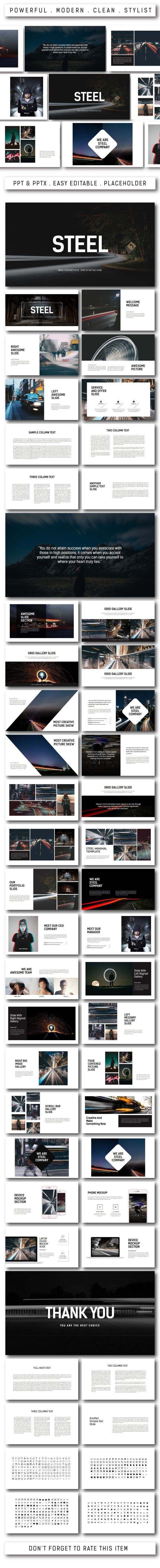 Steel Multipurpose Powerpoint - PowerPoint Templates Presentation Templates