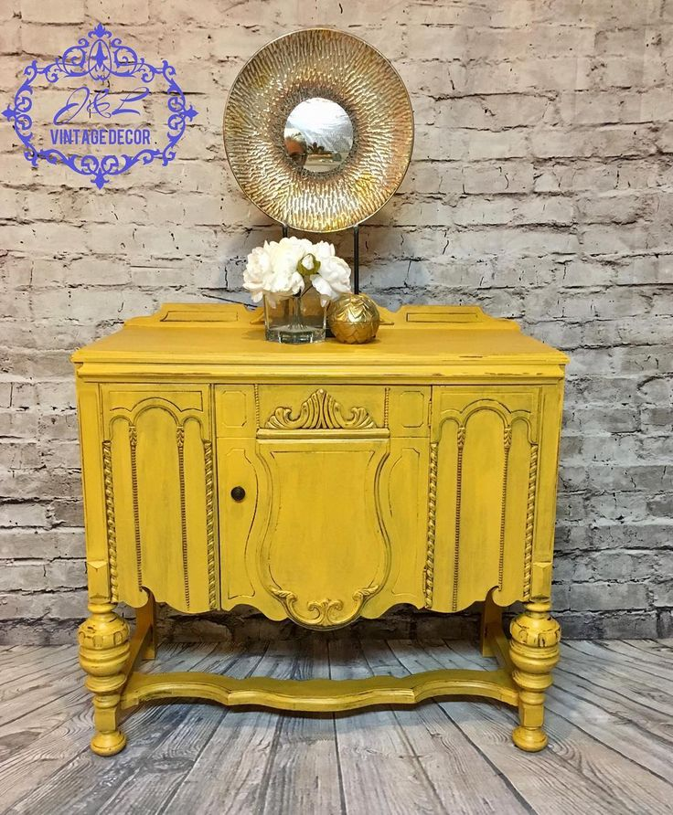 yellow furniture. yellow furniture. fun piece for any room. i used dixie bell colonel mustard and furniture