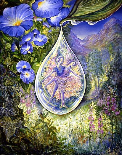 Dewdrop Dancers by Josephine Wall  In an enchanted wood, a dewdrop hangs, and there within, Oberon dances with his fairy queen titania.  If it falls. will they disappear from view, or continue their dance of love in a sunbeam?