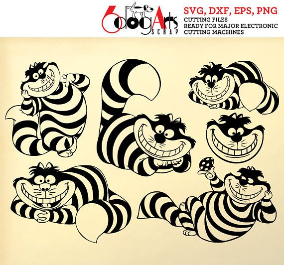 Alice Cheshire Cat Digital Cut Files Svg Dxf Eps Png