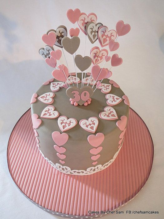 Taupe and Pink Hearts