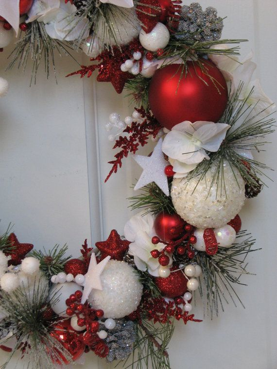 Large Red and White Christmas Wreath by CelebrateAndDecorate, $150.50