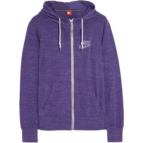 Nike Gym Vintage cotton-blend jersey hooded top, Purple, Women's,... ($35) ❤ liked on Polyvore featuring nike, coats, outerwear, sports and tops