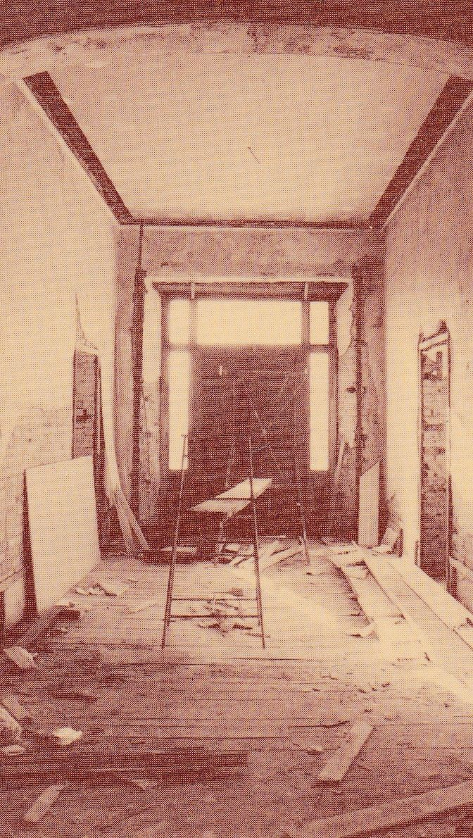 Lyndhurst Entry Hall after the removal of a later concrete floor. The entrance hall, drawing room, library and dining room have now been restored in their original form and color scheme. Sections of the original plaster and joinery have been left exposed to show the evidence for the colour schemes.
