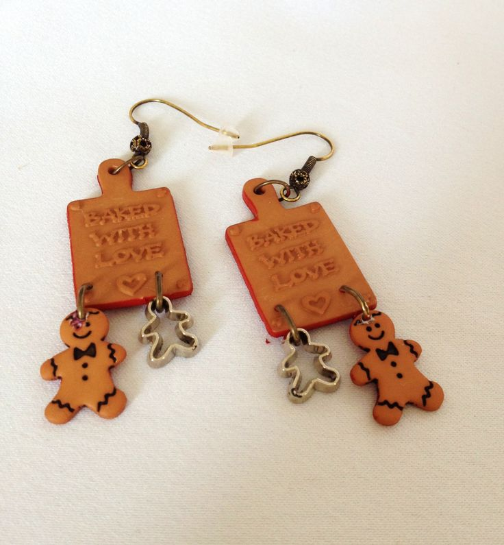 Baked with Love Gingerbread Man Cookie Earrings Christmas Baking  Cookie Cutter Earrings by junquete on Etsy