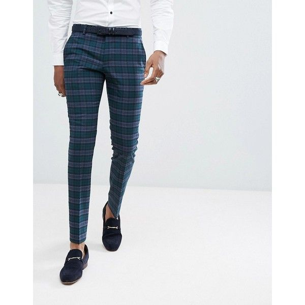 Noose & Monkey Super Skinny Suit Pants In Plaid Check ($103) ❤ liked on Polyvore featuring men's fashion, men's clothing, men's pants, men's dress pants, green, mens stretch pants, mens plaid skinny pants, mens tartan pants, mens velvet pants and mens skinny dress pants