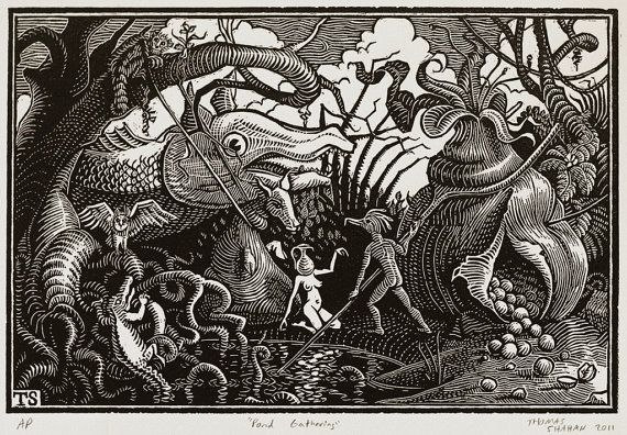 Pond Gathering  Woodcut on Paper  Thomas Shahan by TShahan on Etsy