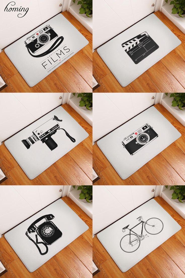 [Visit to Buy] Homing New Arrival Classic Black White Camera Rectangular Anti Slip Mat 40*60cm Entrance Doormat Washable Kitchen Floor Bathroom #Advertisement