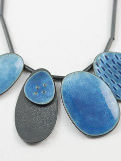 Necklace - Sealife Series, by Caroline Finlay. Oxydized sterling silver, enamel.