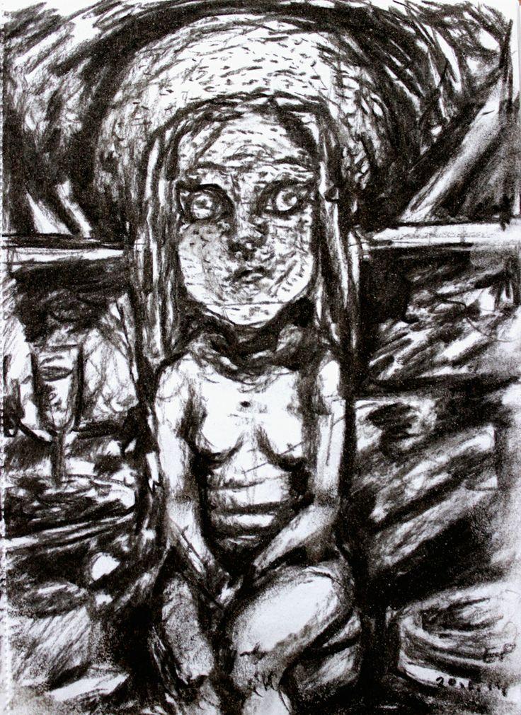 Elina Pesonen, Humpty Dumpty, 21 x 15, Coal on paper