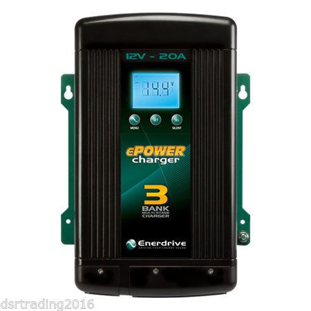 Enerdrive 12V 20A 3 Bank Multi stage Charger Gel, Flooded, AGM, Lithium battery