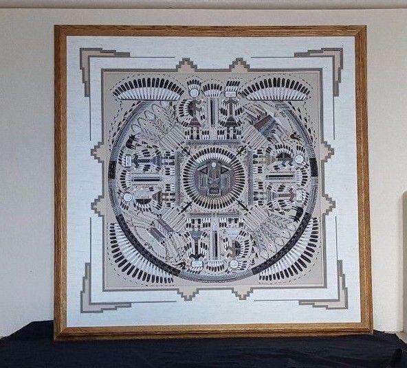 Sammy Myerson, Navajo artist, original sand painting 24 x 24 framed 35 x 35 #Abstract