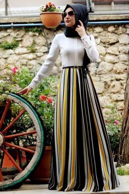 Gamze Polat Sarı Çizgili Elbise