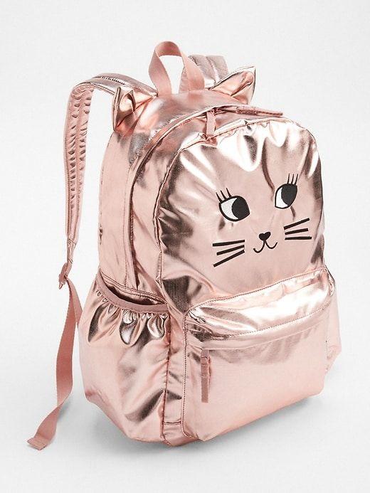 68dadc0fc23a Gap Girls Cat Metallic Backpack Rose Gold