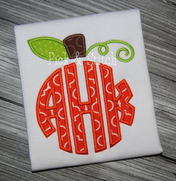 Pumpkin Monogram Topper Applique Design Machine by pickandstitch