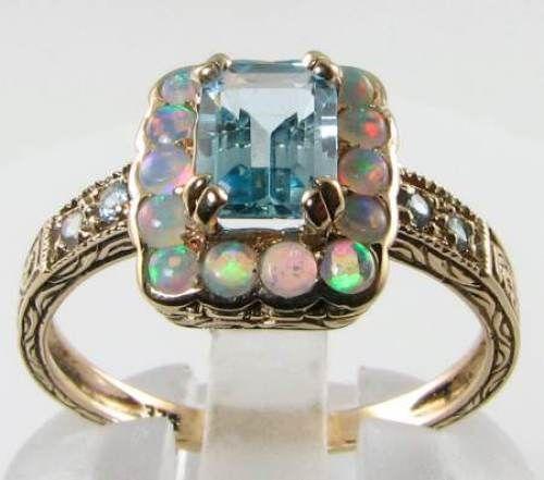 SUBLIME ART DECO INS 9K GOLD BLUE TOPAZ & OPAL RING