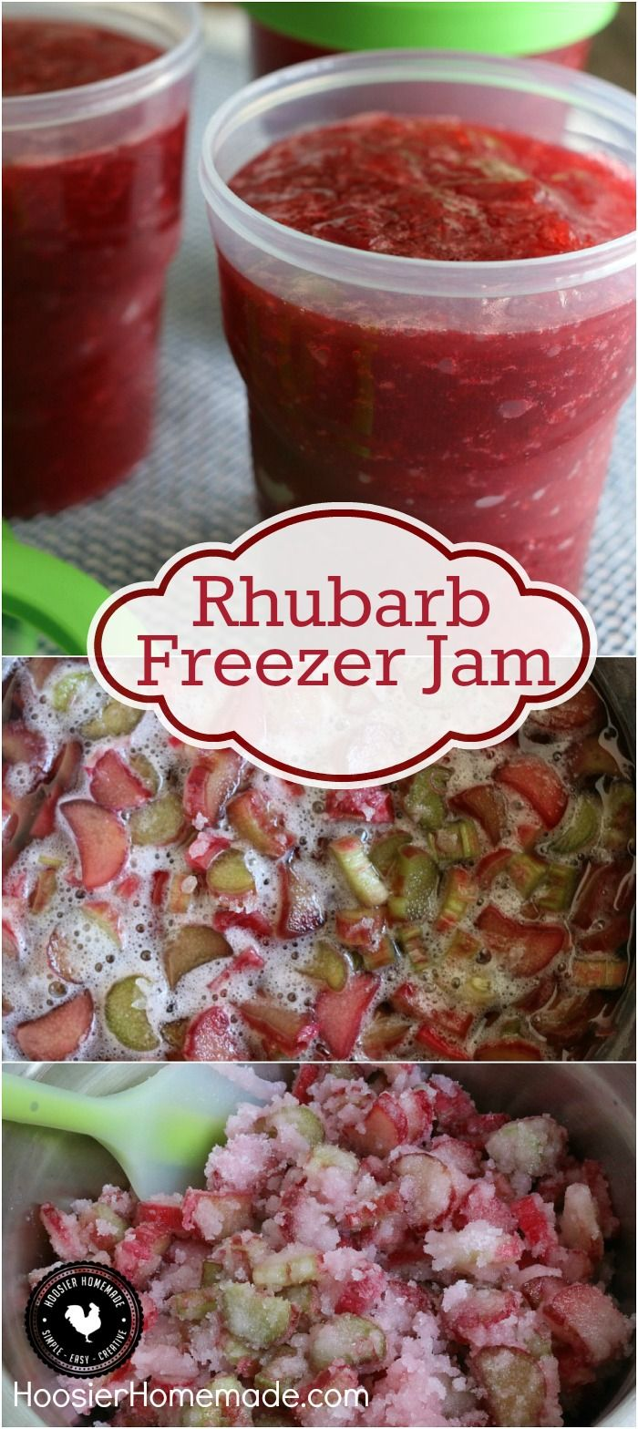 You are only 3 ingredients away from the BEST homemade jam you will ever make! This Rhubarb Freezer Jam goes together in a snap and is SO delicious! Click on the photo to grab the recipe!