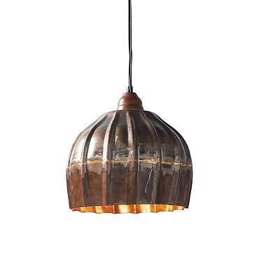 Vintage Ribbed Metal Pendant Light in Bronze