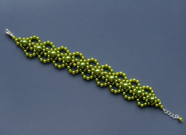 Free pattern for beaded bracelet Lime U need: pearl beads 2 mm pearl beads 4 mm [ad#Adsense3]