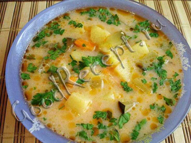 Суп с курицей и плавленным сыром