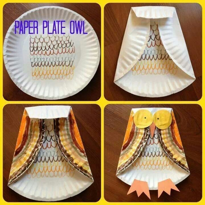 Paper plate owl