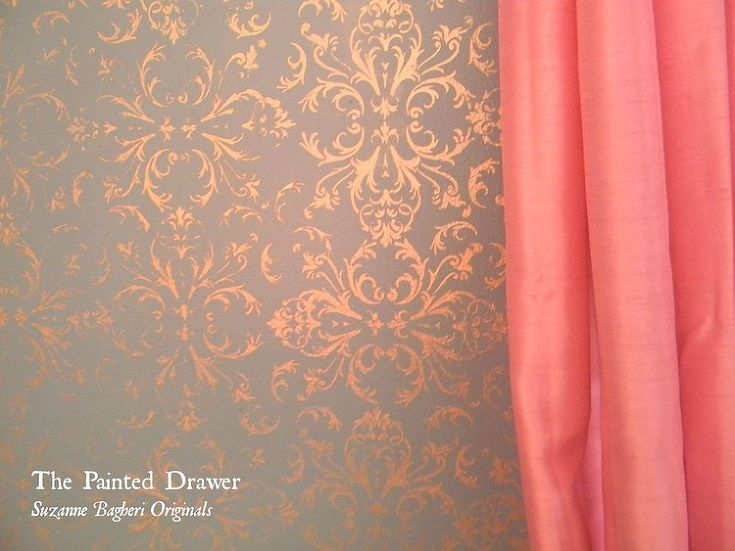 Gold Stenciled Walls - My daughter wanted to re-do her room for a more teenage look. We decided on provence blue and gray walls and a gold stencil to add some…