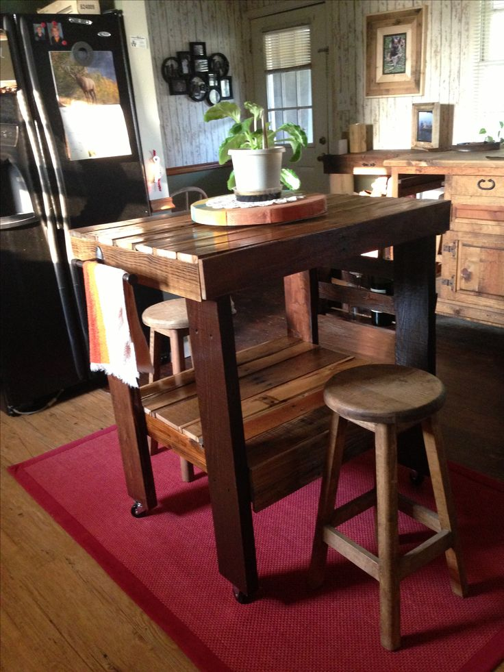 Kitchen Island Made From Pallet Wood Diy Furniture