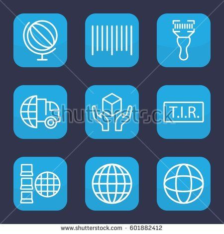 logistics icon. Set of 9 outline logistics icons such as handle with care, bar code, bar code scanner, TIR, globe, international delivery