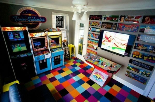Video Game Room Ideas 80's Retro Arcade Room.  Love the control panel built under the tv monitor.
