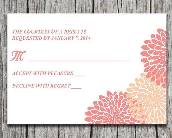 Chrysanthemum Wedding Response Card   Peach Coral Salmon Wedding   Downloadable Wedding Invitation RSVP Insert   Custom Colors by PaintTheDayDesigns, $7.75