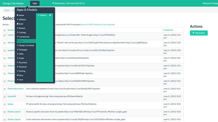 Django Flat Admin for OEM integrator licence is an admin theme for Django Framework. It allows for registering custom database options and provides a clean and modern web interface.  The application is designed to be responsive and adopt to mobile and tablet devices. To achieve this we have used the twitter bootstrap 2.x framework grid. The application is constantly evolving so make sure you checkout github for the latest updates and fixes.