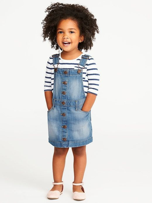 Seriously can this get any cuter?! Such a cute and fun spring/summer outfit for toddler girl! So classic yet still fun and cute! Little jean jumper. toddler girl style. toddler girl fashion. simple toddler fashion. classic fashion. #affiliate #toddleroutfits