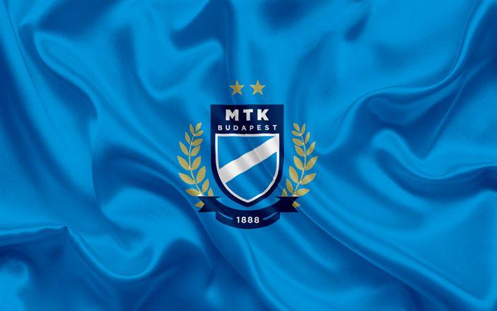 Descargar fondos de pantalla МТК FC, Hungarian Club de Fútbol, el emblema, el MTK Budapest FC logo, bandera de seda, Budapest, Hungary, fútbol, Hungarian football league
