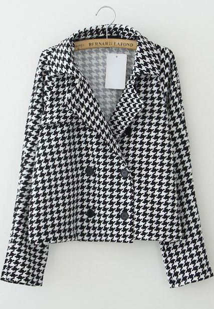 Black White Lapel Long Sleeve Houndstooth Coat - Sheinside.com  £17.43