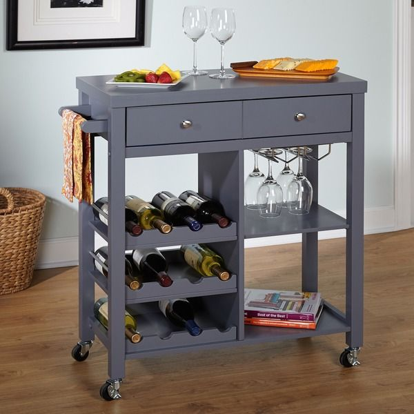 The Simple Living Colwood wine cart is the perfect addition to your dining area for entertaining your guests. This cart comes with casters for easy mobility, space for your favorite wine and stemware
