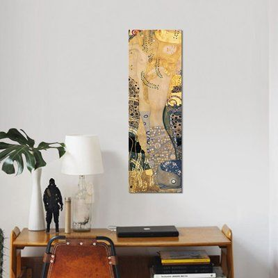 """East Urban Home 'Water Serpents I, 1904-07' by Gustav Klimt Print on Canvas Size: 48"""" H x 16"""" W x 0.75"""" D"""