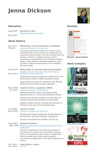 marketing & communications coordinator Resume example
