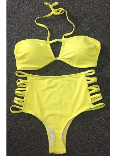 Cut Out High Rise Yellow Bikini Set #womensfashion #pinterestfashion #buy #fun#fashion