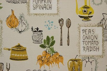 Peas Onion Tomato Radish Kitchen Vintage Wallpaper