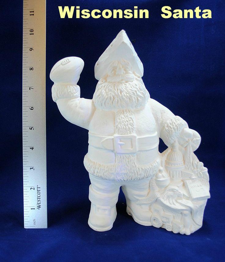 WISCONSIN State Santa in ceramic bisque, ready to paint, ceramic santa, Christmas Santa by CWsCeramicsandBisque on Etsy