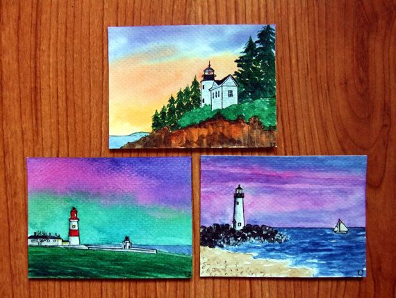 SALE Set of 3 ACEO Original Watercolor and Ink-Sunset by Fourtud